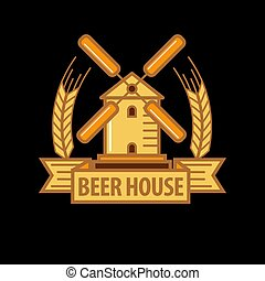 Beer house logo with windmill
