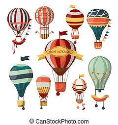 Different flying aerostats with bon voyage words - Set of...