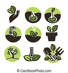 Set of gardening labels