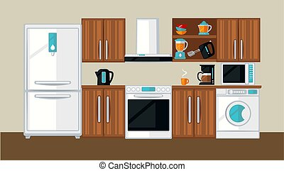 Kitchen interior template - Vector illustration of a classic...