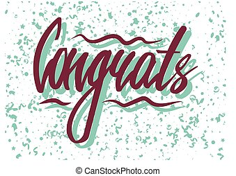 Congrats word with confetti - Vector illustration of...