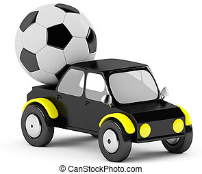 3D socer ball in a black car on a white background