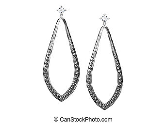 Silver earrings with marcasite stones isolated on white (3D...
