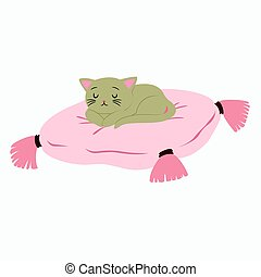 Sleeping Cat Vector - cat sleeping on top of a pink cushion...