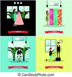Vector set of fashion atelier square flat posters - Vector...