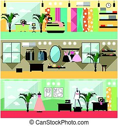 Vector set of fashion atelier interior flat posters, banners...