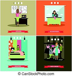 Vector set of fashion atelier flat posters - Vector set of...