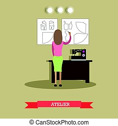 Atelier concept vector illustration in flat style - Vector...