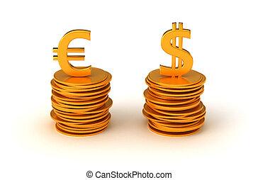 Euro, nosotros, dólar, moneda, ecuación