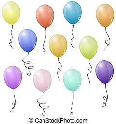 colored flying balloons - collection of eleven different...