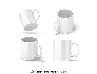 Blank white glass mug mockups set isolated, 3d rendering....