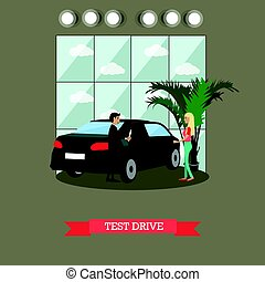Test drive concept vector illustration in flat style