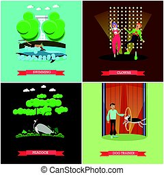 Vector set of dolphinarium and circus show posters, flat...