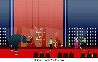 Circus show vector illustration in flat style