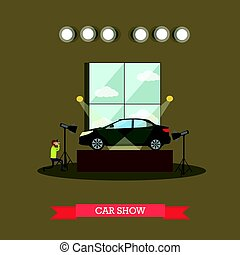 Car show concept vector illustration in flat style - Vector...