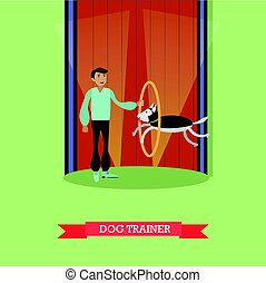 Dog trainer vector illustration in flat style