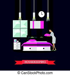 Hotel housekeeping vector illustration in flat style -...