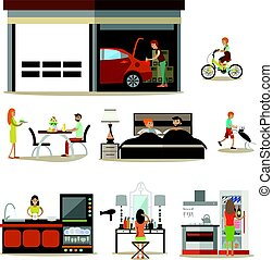 Vector flat icons set of house interior, family characters