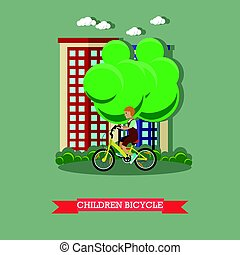 Vector illustration of a kid riding bicycle in flat style
