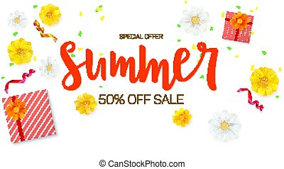 Summer sale ad banner. Top view. Gift box with red ribbon and bow, burning, lighted candle, with serpentine and confetti on white background. Template for online shopping