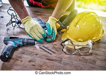 dril, padrão, equipamento, construção, segurança, ponha