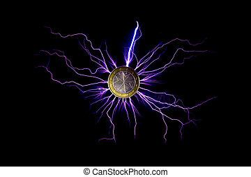 electric current passed through a 2 euro coin - electric...