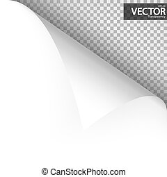 Paper corner with vector transparency - upper left paper...