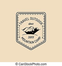 Vector camp logo. Tourism sign with hand drawn mountains landscape. Retro hipster badge, label of outdoor adventures.