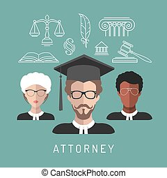 Vector male and female lawyer app icons with attorney symbols in flat style. Advocate man and woman faces avatars signs.
