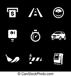 Set of Toll Road Icons. - Payment, highway, speedometer,...