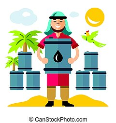 Vector Middle East Oil Industry. Flat style colorful Cartoon...