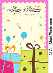 birthday card - illustration of birthday card with gift...