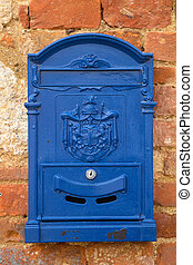letter-box - blue letter-box on a wall