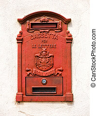 letter-box - red letter-box on a wall