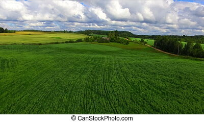 Drone flight over the farmland cultivated fields