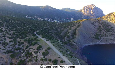 Aerial view on bay and mountains, Novyi Svit, Sudak, Crimea