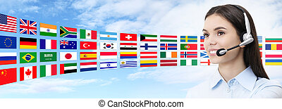 contact us, customer service operator woman with headset smiling isolated on international flags background