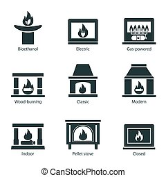 Fireplace icons set vector flat sign isolated on white background. Stove fireplace, biofireplaces, electric, wood-burning, classic, modern, indoor, pellet-stove, gas-powered icons