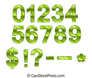 Green ecofriendly 0-9 numerals with grass pattern over white