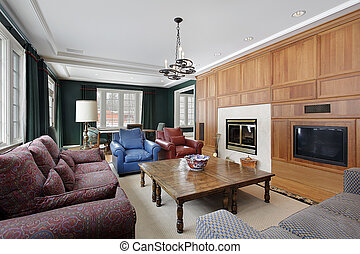 Family room with wood paneled cabinetry