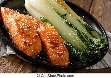Soy-Honey Glazed salmon and roasted cabbage bok choy...