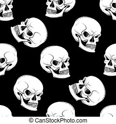 Graphic skull with fearful smile. Vector seamless pattern....