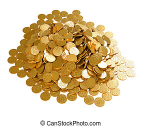 Save the money. Stack of golden coins isolated over white
