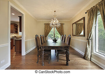 Dining room with gold draperies - Dining room in suburban...