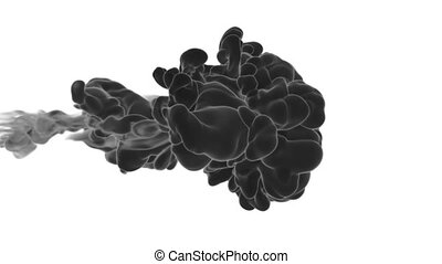 Abstract black Ink or smoke background with alpha mask. VFX Cloud of Ink for transitions, background, overlay and effects. For alpha channel use alpha matte. 3d render Ver 5