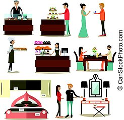 Vector flat icons set of shop interior, buyers and sellers -...