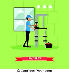 Plumber vector illustration in flat style - Vector...