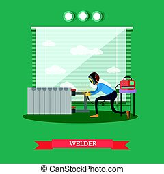 Professional welder concept vector illustration in flat style