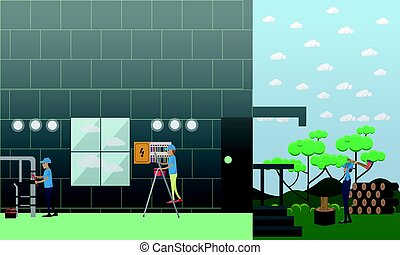 Plumbing and electric company services vector illustration...