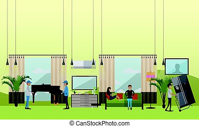 Moving company services vector illustration in flat style